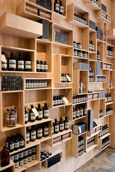 Aesop, Fitzroy | Clare Cousins Architects #retail #display #crates