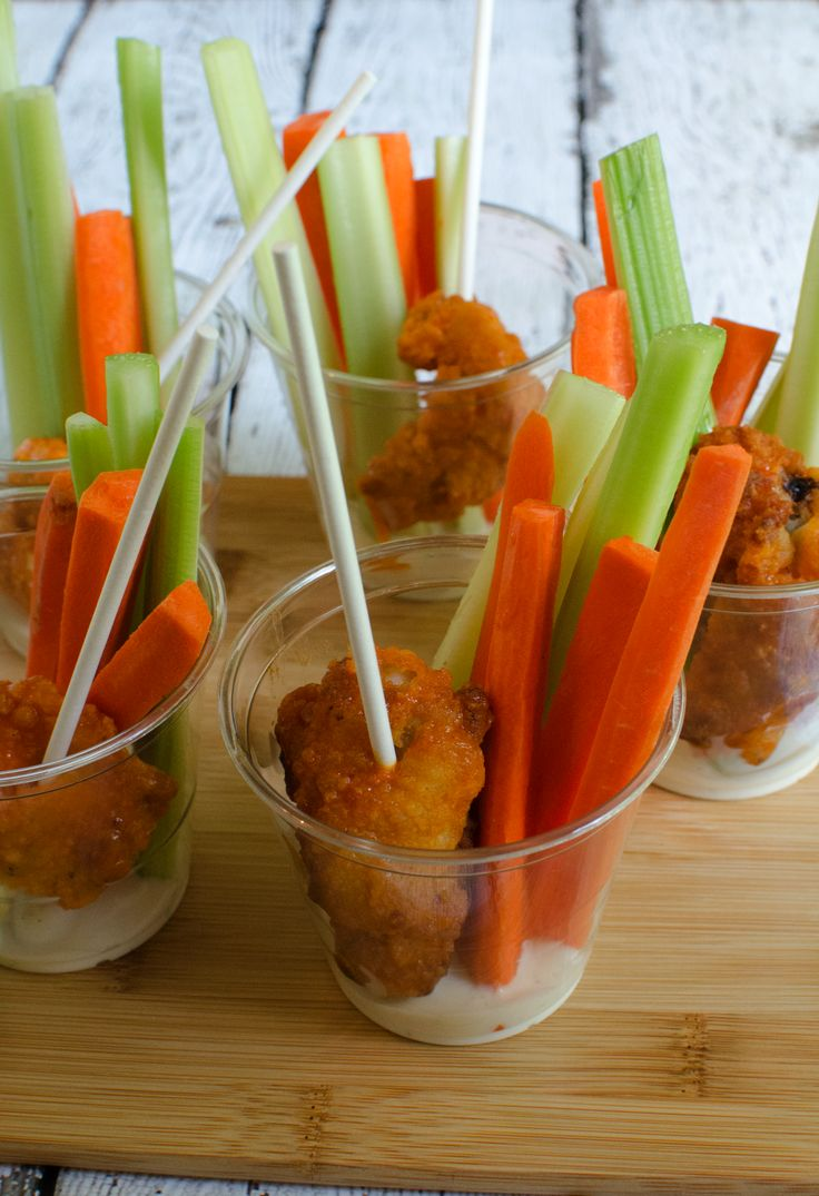 Individual Buffalo Chicken and Vegetable Crudités Cups