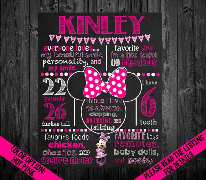 Minnie Mouse Birthday Chalkboard Poster by VickiTsCreations on Etsy https://www.etsy.com/listing/190431271/minnie-mouse-birthday-chalkboard-poster
