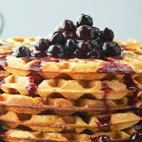 Cornmeal Waffles with Blueberry Compote. For more tasty and healthy breakfast recipes visit: http://www.diabeticlivingonline.com/diabetic-recipes/breakfast/breakfast-recipes/