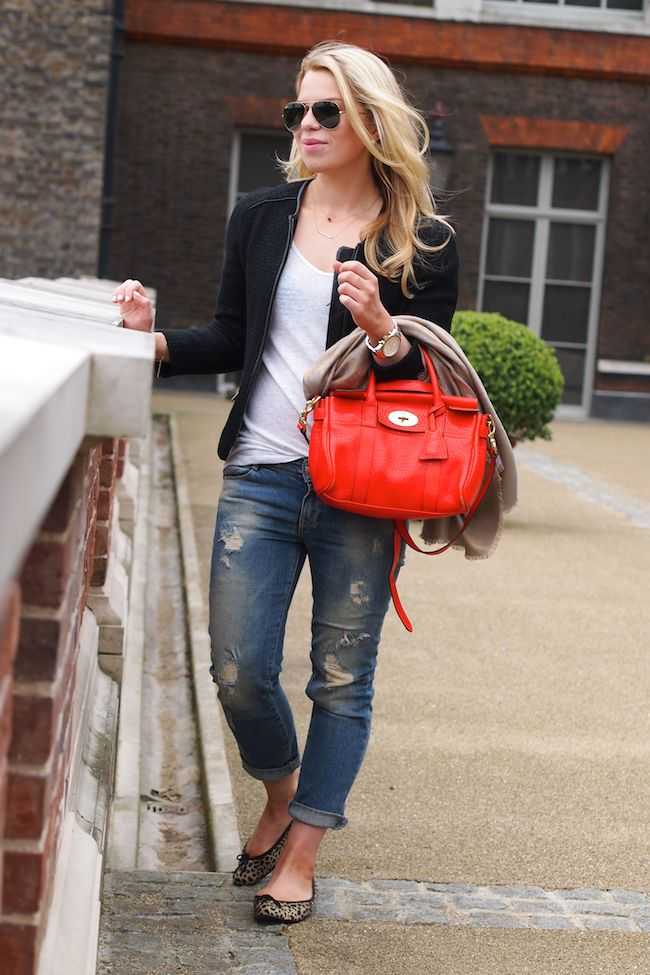 Mulberry Mini Bayswater in Flame Boyfriend jeans Ray-Ban aviators Leopard flats by French Sole  http://www.yummyjenni.com