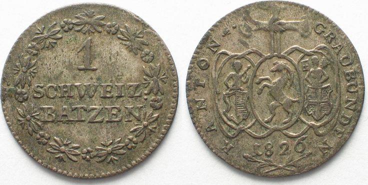 1826 Schweiz - Graubünden GRAUBÜNDEN Kanton 1 Batzen 1826 Billon ERHALTUNG! # 95416 vz