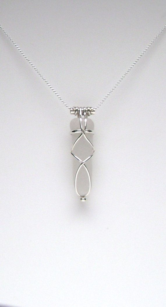 Sea Glass Jewelry Sterling Caged White Sea Glass by SignetureLine, $65.00