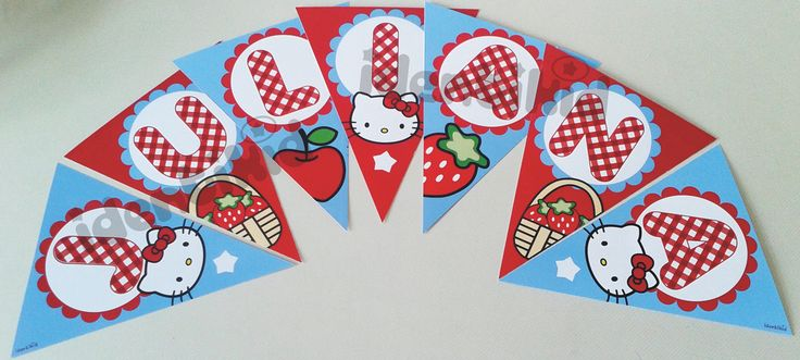 IDENTIKID - Banderín Hello Kitty Picnic. personalizado . Varios formatos - listos para colgar.- www.facebook.com/identikid