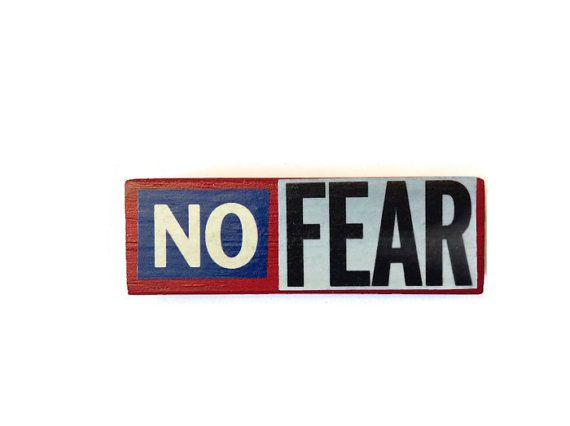 NO FEAR fridge magnet RED upcycled Jenga block by FuNkTjUnK