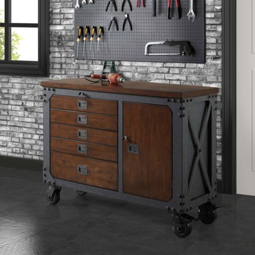 Whalen 48 Metal And Wood Workbench Cabinet Heavy Duty