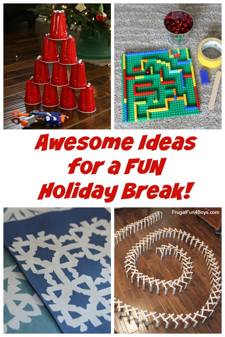 Looking for fun things to do with kids over the Christmas break? Lots of great ideas here - LEGO ideas, Nerf games, how to make snowflakes, and more.