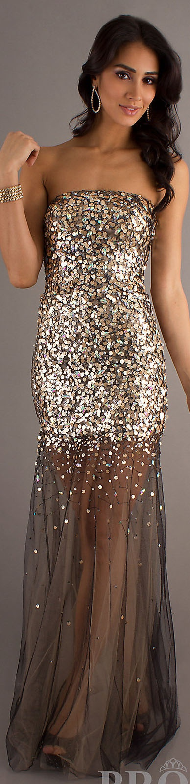 Fashion long formal dress #strapless #glitter #sexy #nude #gold