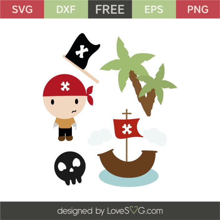 *** FREE SVG CUT FILE for Cricut, Silhouette and more *** Pirate elements: Little pirates, boats, skeleton and palm