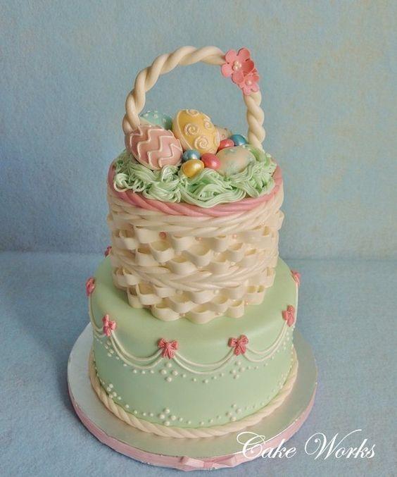 Easter cakes 47 pinterest beautiful easter basket cake negle Images
