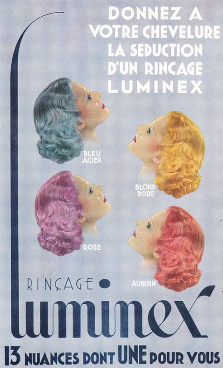 Love these colors! french hair dye ad, 1930s