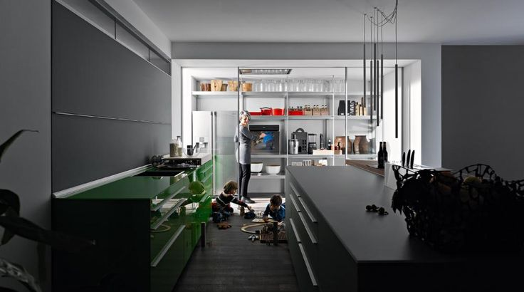 "Everything on hand, everything tidy in an instant. Valcucine has always focused on satisfying its customers' requirements and has painstakingly researched into the use of traditional kitchens to this aim. This has resulted in the perfection of a few aspects that improve the interaction of Man with the whole kitchen ""system""."