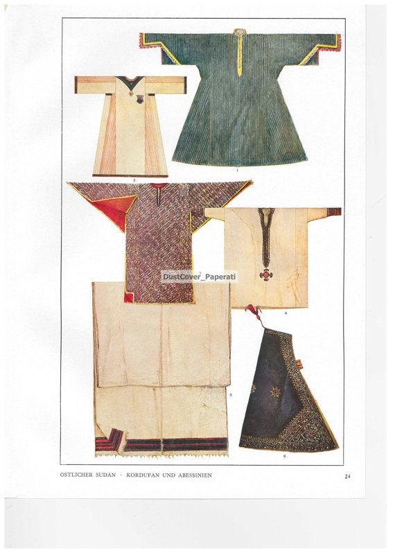 Max Tilke Costume Patterns and Designs Book Plate  (Sudan) by DustCoverPaperati, $8.00