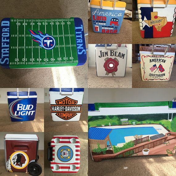 This is a 9-quart cooler (holds a few cans), that has been hand painted by myself. All of the pictures provided are coolers that I have done. I can do just about anything and will work with you to get everything just how you would like! Most take about a week to create and 3-4 days to ship.  PERSONALIZED HAND-PAINTED COOLER! All coolers are sanded, primed, and sealed to insure a quality and long-lasting product!  ******of course after time there will be damage done, handle with care so that…