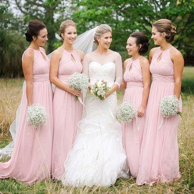 Pink Long Bridesmaid Dress, 2017 Pink Long Bridesmaid Dress with Key Hole