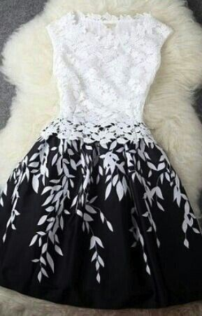 A-Line dress... love the contrast of the black and white. So elegant. Cute dress