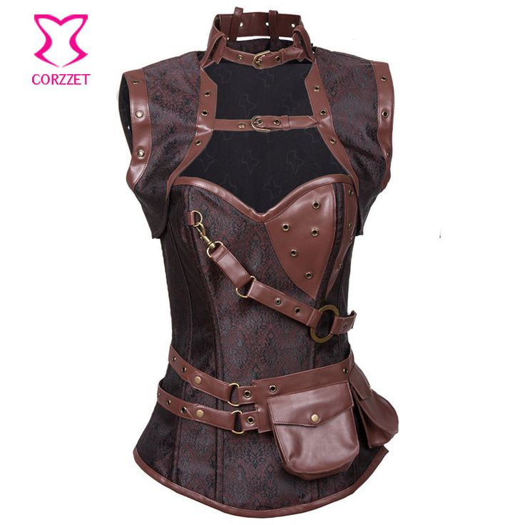 Latex Gothic Clothing Sexy Brown Steel Bone Corset Steampunk Waist slimming Corsets And BustiersTop Women Corpetes E Espartilhos Check it out! Get it here