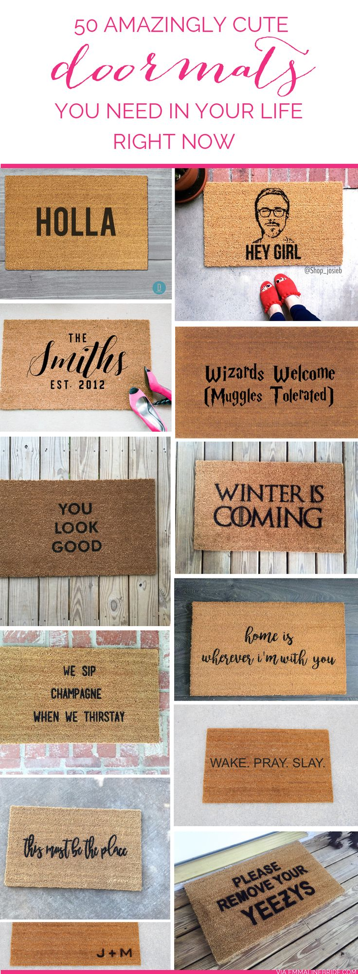 Cute doormats. All from Etsy. #shopsmall for your home! <3 | http://emmalinebride.com/gifts/cute-doormats-etsy/