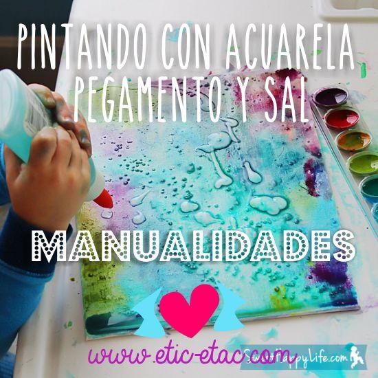 Manualidades con niños: Pintar con acuarelas, pegamento y sal