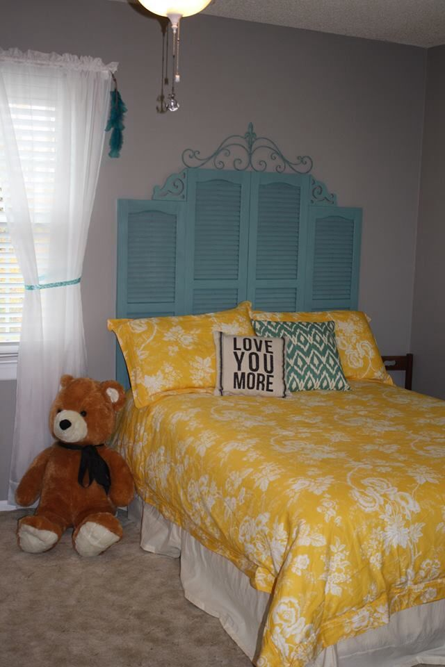 Shutter Headboard With A Touch Of Decor From Lowe S For The House Pinterest Headboards Bedrooms And Repurposed
