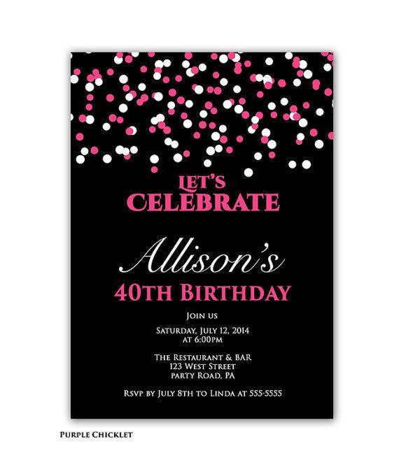 Confetti Birthday Party Invitation Pink And Black 40th