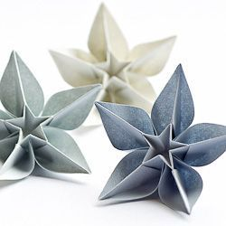 Origami flowers from a single sheet of paper.