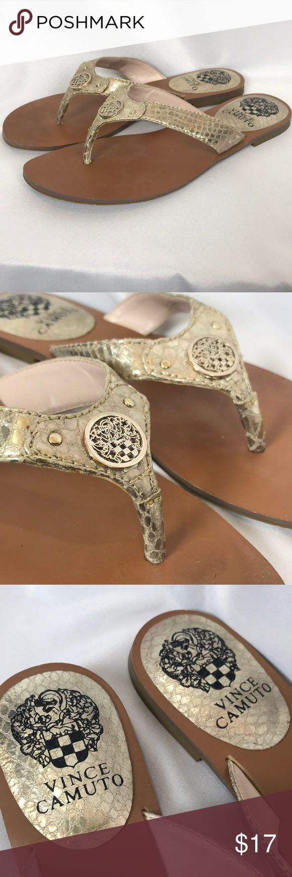 Vince Camuto gold leather flip flops sandals 6.5 Excellent condition. Very lightly worn. Clean and odor free from smoke-free home. Women's size 6.5 B. Vince Camuto Shoes Sandals