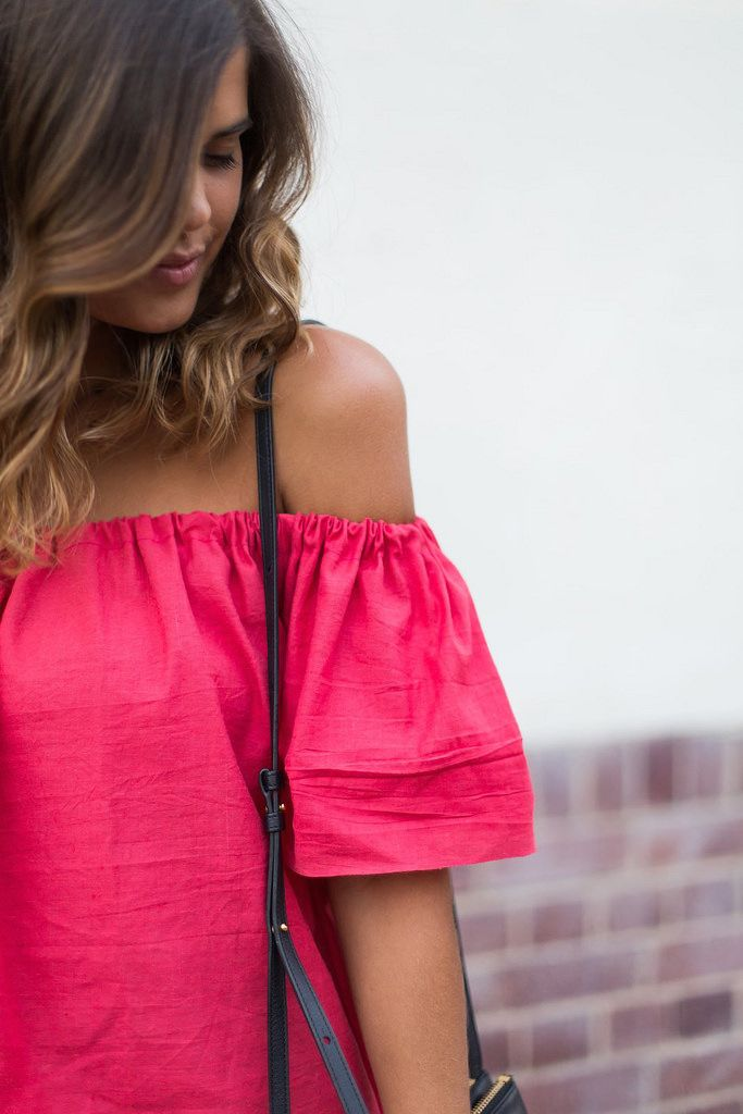 Was a FREE PATTERN/TUT when last checked. | DIY Off the Shoulder Top - FREE Sewing Tutorial