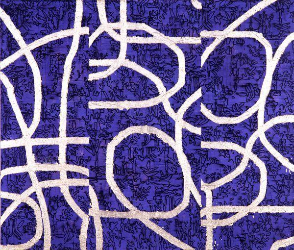Mulasics László: Indák / Trailers2000 – 120x140 cm enkausztika, olaj, ezüstfólia, vászon / encaustic, oil on canvas