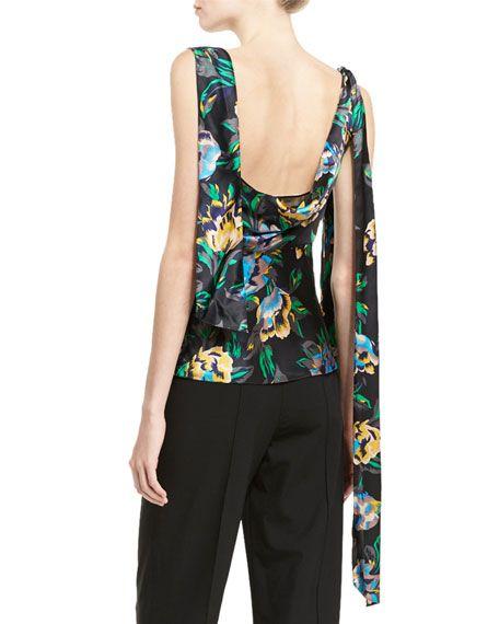 09818a4d2c394a Diane von Furstenberg Sleeveless Shoulder-Knot Floral-Print Silk Top |  Proyecto | Shoulder knots, Silk top, Floral prints