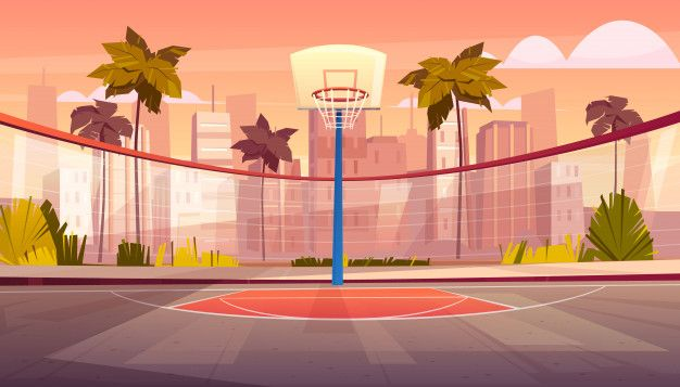 Download Vector Cartoon Background Of Basketball Court In Tropic City For Free Cartoon Background Animation Background Anime Background