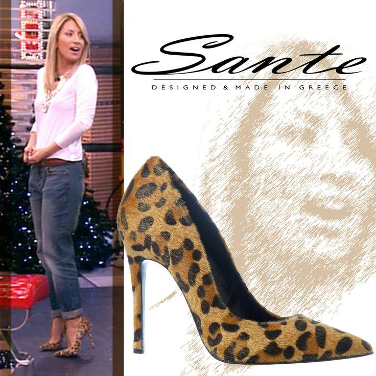 Η Maria Iliaki στο Deste Tous με Sante Shoes γόβα μυτερή animal print #SanteLovers