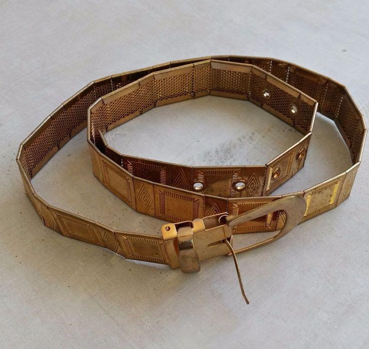 Vintage Brass Link Belt, Retro Etched Goldtone Metal Mesh Narrow Belt Mod L  #Unbranded #WaistBelt
