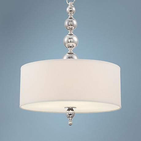 "BEDROOM. Mila 20"" Wide Satin Nickel Drum Pendant Light - #8H856 