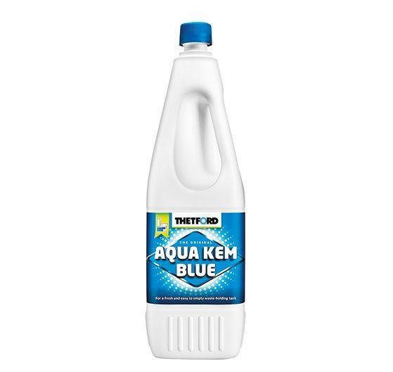 Vand solutie dezinfectant si odorizant, Thetford Aqua Kem Blue, flacon de 1 litru, cu actiune de descompunere a deseurilor din rezervorul rezidual al toaletei din rulota