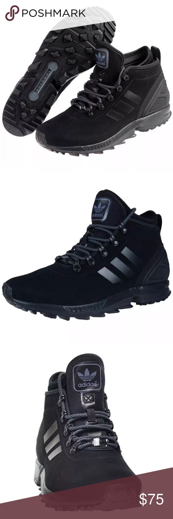 ADIDAS ZX FLUX WINTER SNEAKER BOOT MENS SIZE 8.5 Brand : adidas   Style Code : AQ8433  Color : Triple Black  Size : US Men's 8.5  Men's low top boot  Lace up closure  Signature adidas triple stripe logo detail on sides of shoe  Smooth nubuck suede upper  Tongue with adidas trefoil logo  Cushioned inner sole for comfort  Reinforced traction rubber outsole for ultimate performance   Synthetic   Mesh lining   Grippy, winter-specific rubber outsole   Suede upper   Internal neoprene sock…