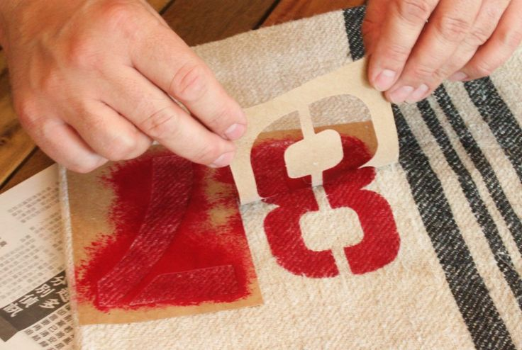Peeling Back the 87 after Stenciling the Grain Sack Pillow