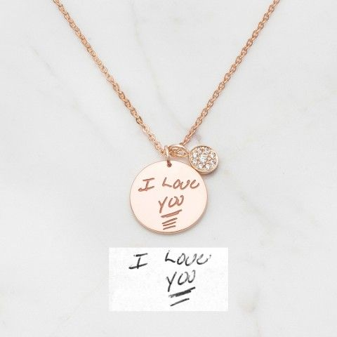 Disc Handwriting Necklace with Crystal Charm