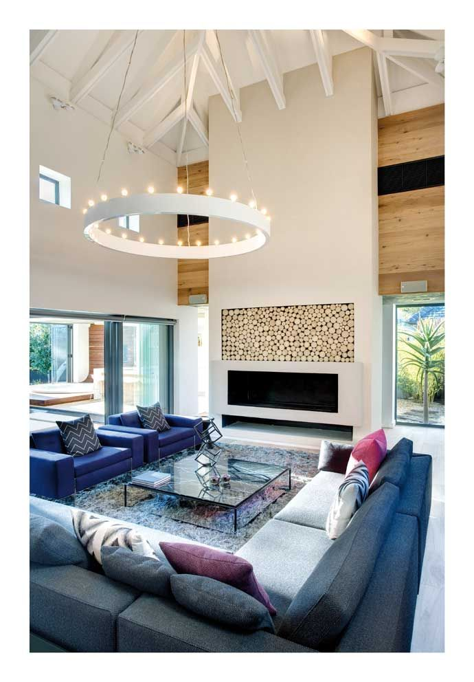 Love the light fixture with the high painted beams... Modern Pearl Valley Home | House and Leisure