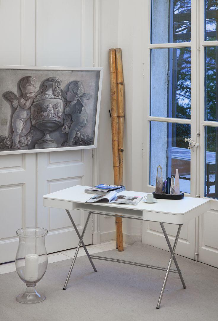 Toll Cosimo Desk Design Marco Zanuso Jr   White Mat Lacquered Adentro Www.adentro .fr