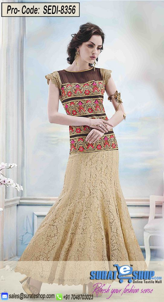 True Elegance Comes Out Through The Dressing Design With This Beige & Brown Jacquard, Net Gown. You Are Able To See Some Interesting Patterns Done With Moti, Resham, Sequins Work.   Visit: http://surateshop.com/product-details.php?cid=2_27_47&pid=11971&mid=0