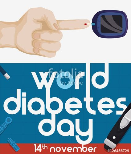 World Diabetes Day Design with Hand and Measurement Elements
