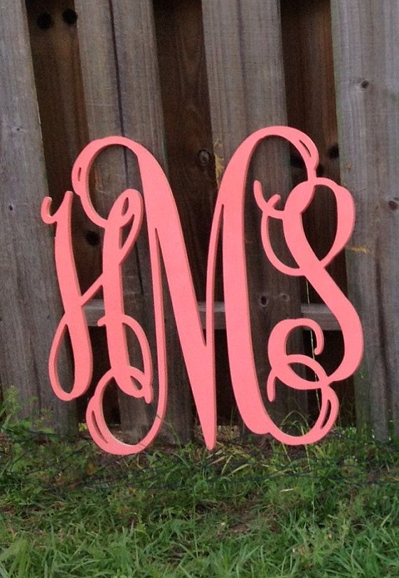 "Big 24""x24"" Inch Beautiful Wooden Monogram Wall Monogrammed Painted Initials girls bedroom decor lavender pink coral personalized gift Room"
