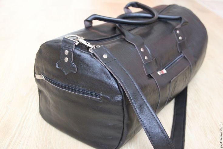 Купить дорожная сумка кожаная мужская ЭСТЕТ - черный, дорожная сумка, спортивная сумка