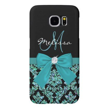 Teal turquoise glitter Black Damask Bow Monogram Samsung Galaxy S6 Case - monogram gifts unique custom diy personalize
