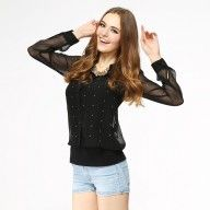 Long Sleeved Sheer Blouse Top