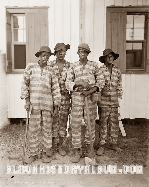 African American members of a prison chain gang near Huntsville, Alabama. 1905. Black History Album, via Flickr