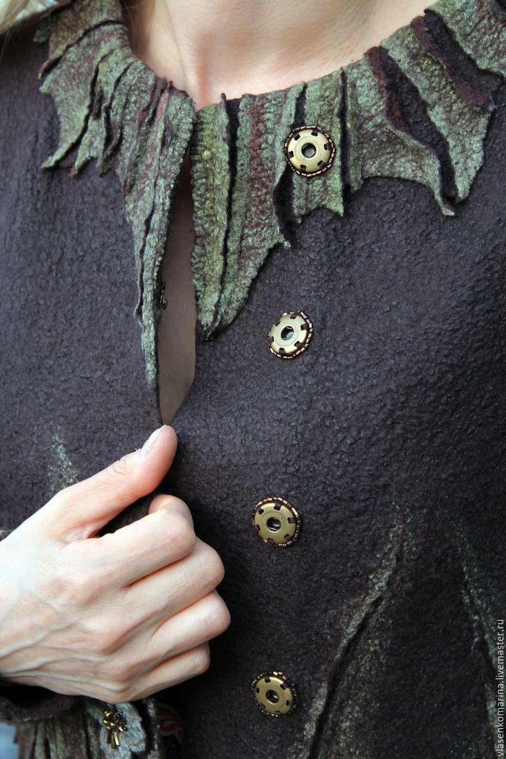 Купить Жакет валяный Ванильный трюфель - коричневый, цветочный, жакет женский…