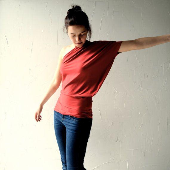 Off the shoulder top One shoulder top red top Yoga by larimeloom