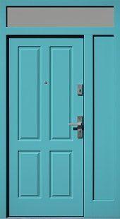 Drzwi zewnętrzne z dostawką boczną i naświetlem górnym wzór 534,6 w kolorze turkusowe